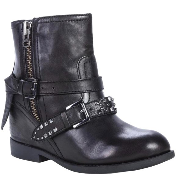 Geox Black Hidden Wedge Studded Buckle Ankle Boots
